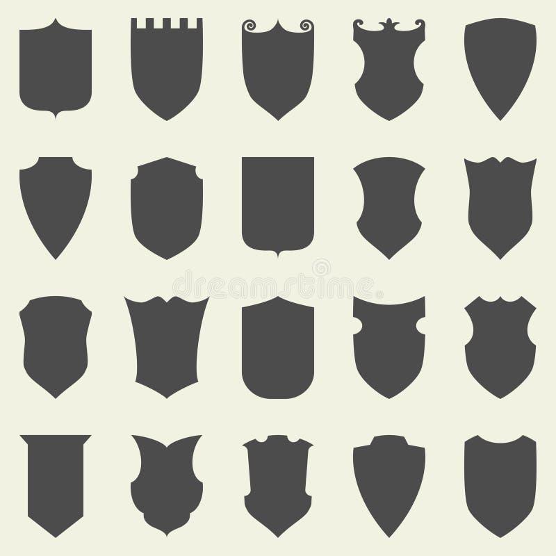 Set puste miejsce zmroku puste osłony Osłony odznaka royalty ilustracja