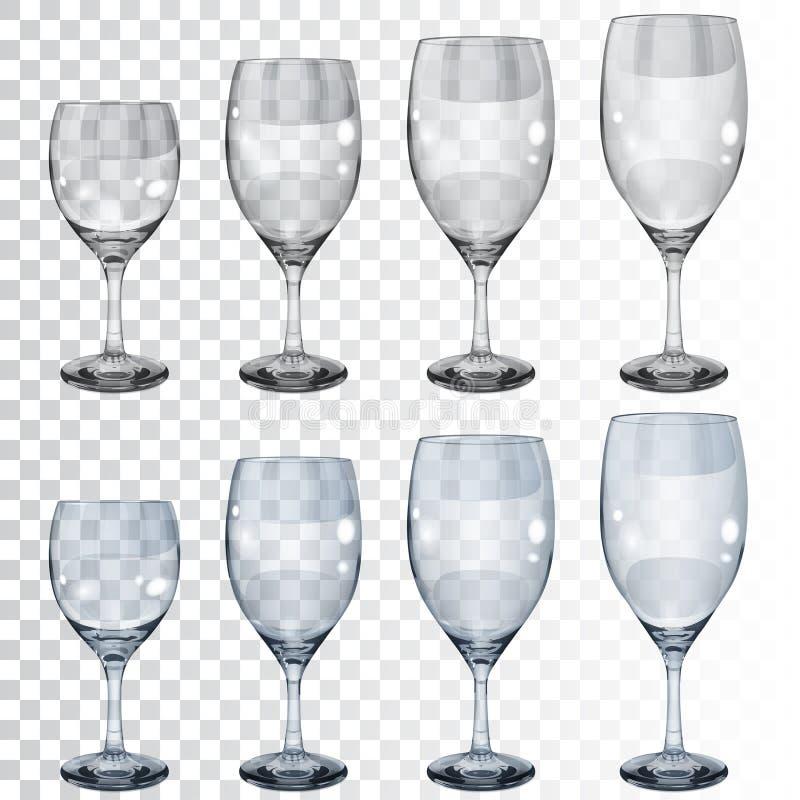 Set puste przejrzyste szklane czara dla wina ilustracja wektor
