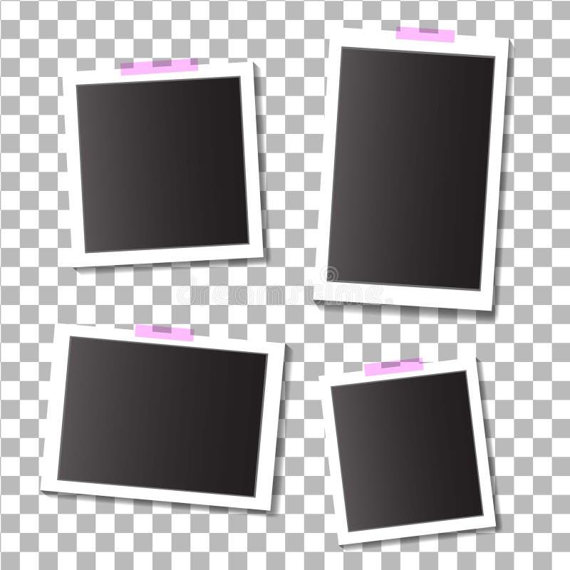 Set puste szablon fotografii ramy z adhezyjną, kleistą taśmą na odosobnionym tle, EPS10 royalty ilustracja