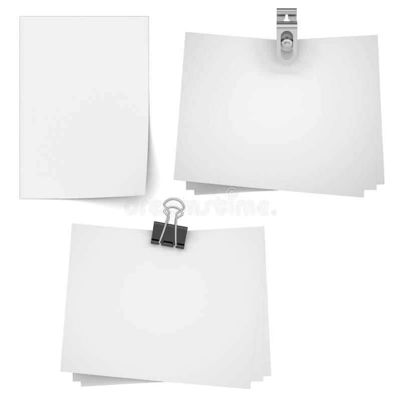 Set pustego papieru prześcieradło dla egzaminu próbnego up ilustracja wektor