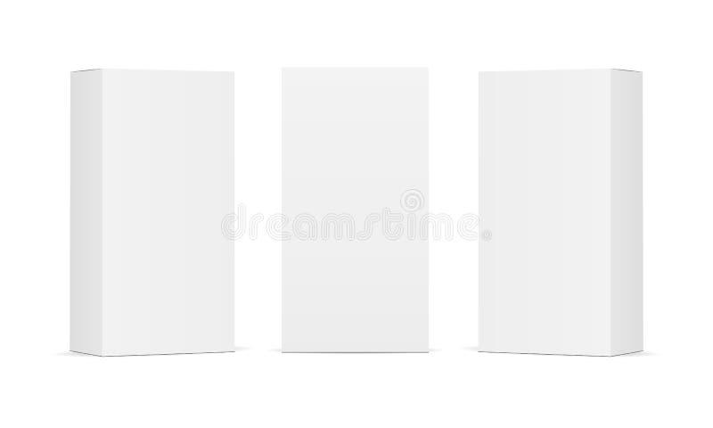 Set pusty biały produkt pakuje pudełka odizolowywających ilustracji