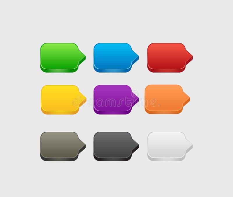 Set pusty kolorowy 3d kwadrat zapina dla strony internetowej lub app royalty ilustracja
