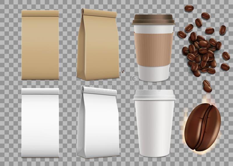 Set pusty pakunek z kawowymi fasolami i papierów kubkami odosobniony royalty ilustracja