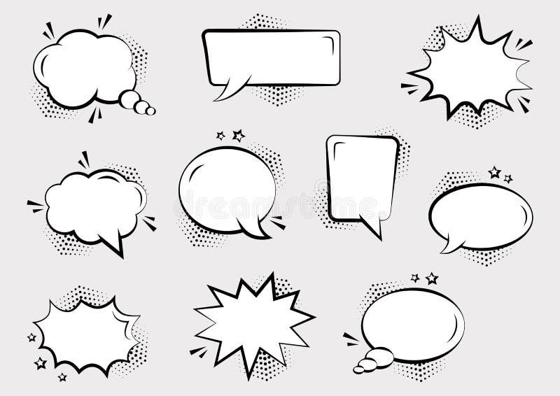 Set pustych komicznych mowa bąbli różni kształty z halftone ocienia i gra główna rolę Komiczni efekty d?wi?kowi w wystrza? sztuki ilustracja wektor