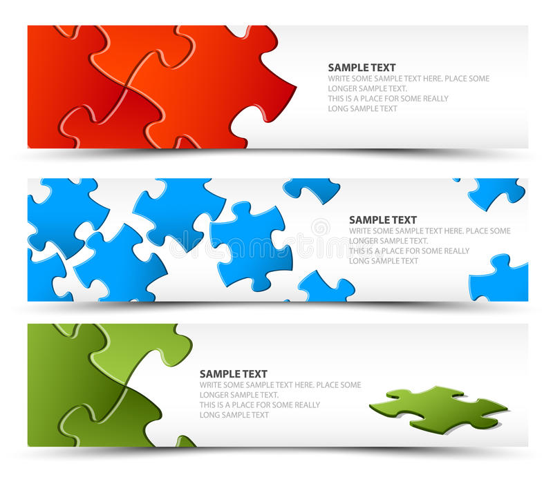 Set of puzzle horizontal banners royalty free illustration