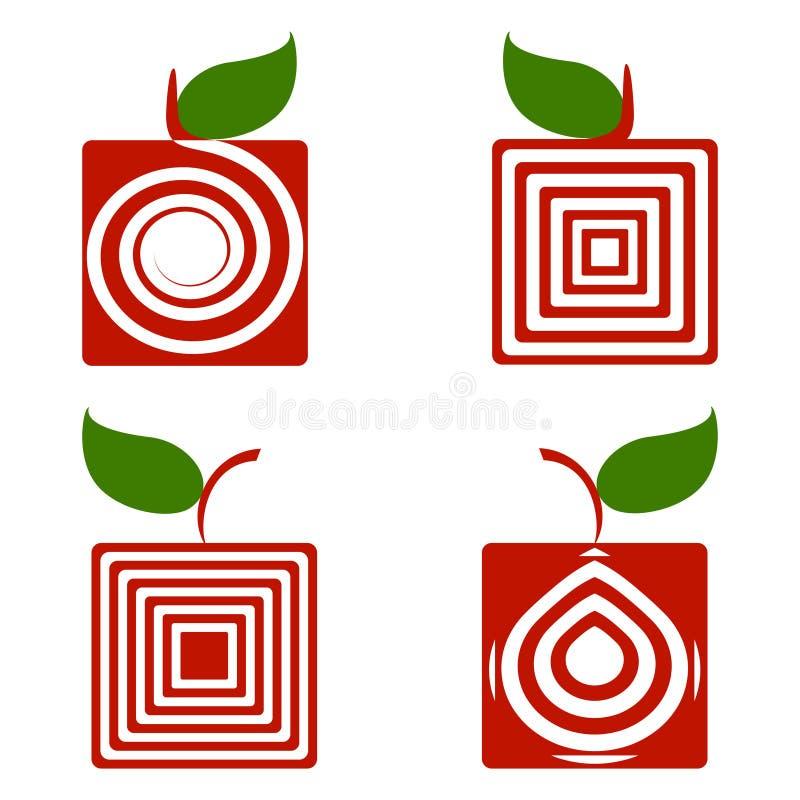 Set quadratische Äpfel getrennt auf Weiß lizenzfreie abbildung