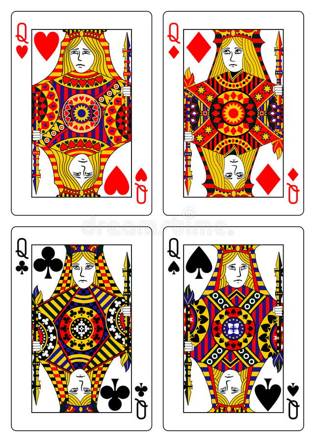 Download Set Of Queens Playing Cards 62x90 Mm Stock Vector - Image: 22185233