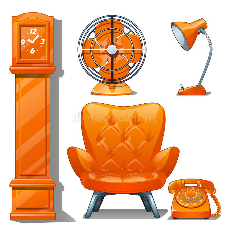 Set of quilted leather chair orange color, table lamp, fan, grandfather clock and telephone. Furniture for interior stock illustration