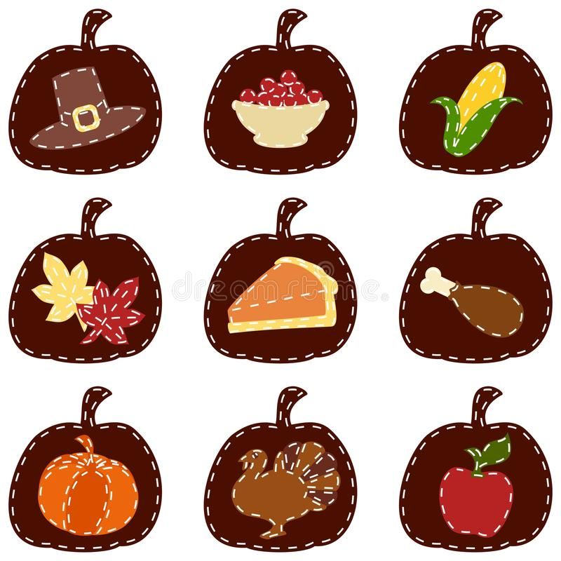 Set of quilted Thanksgiving icons. Nine thanksgiving-themed patches. Graphics are grouped and in several layers for easy editing. The file can be scaled to any