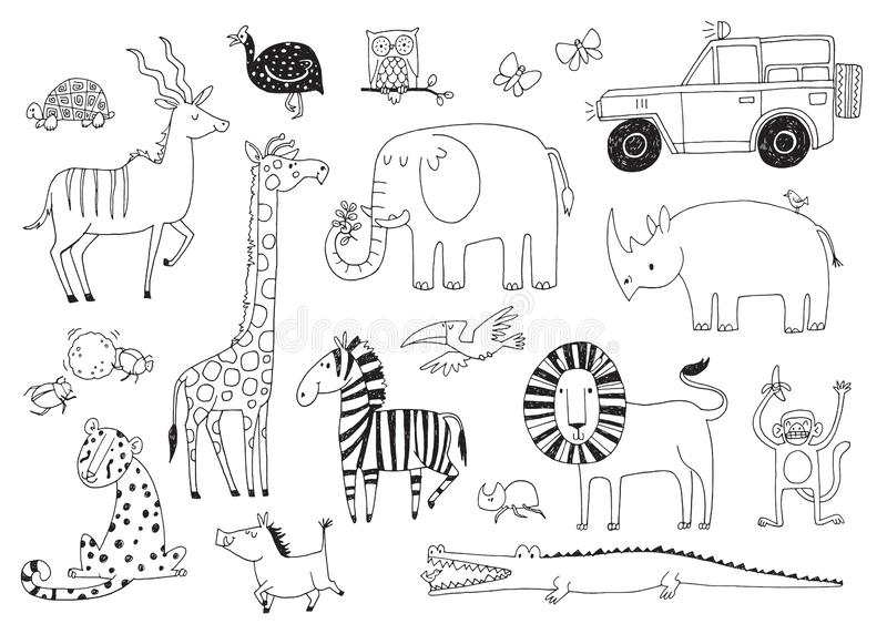A set of quirky African safari animals royalty free illustration