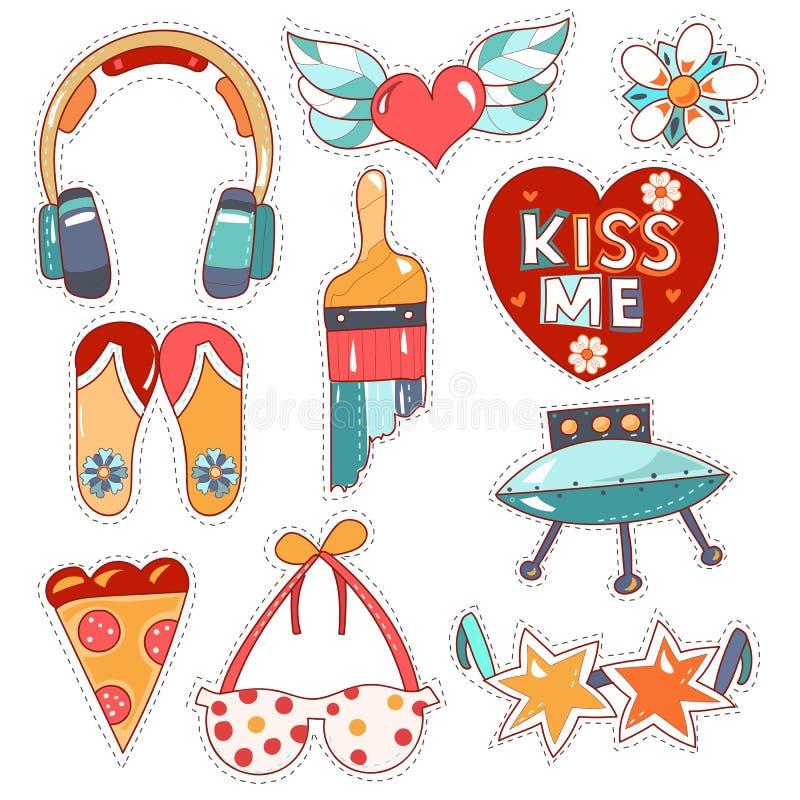 Set of quirky cartoon patch badges. Set cartoon patch badges or fashion pin badges.Earphones, heart, wings, kiss, brush, points,sun glasses,bra,flip flop hand vector illustration