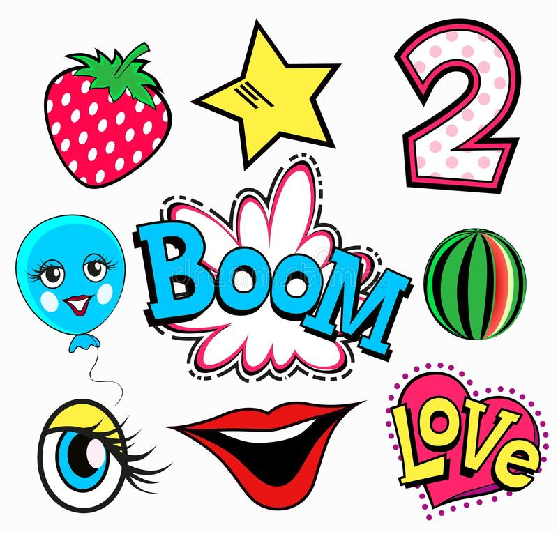 Set of quirky cartoon patch badges or fashion pin . Strawberry, two, boom, love, heart, eye, watermelon, star. A set of quirky cartoon patch badges or fashion royalty free illustration