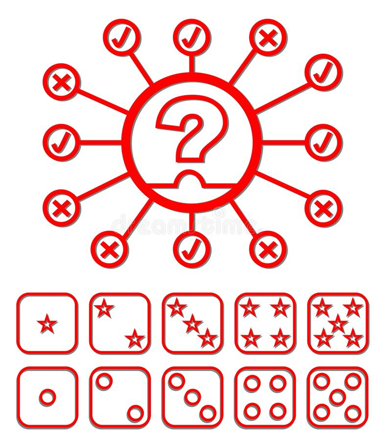 Set of quiz elements - emblem and button to select difficulty. Set of quiz elements - quiz emblem and button to select difficulty vector illustration