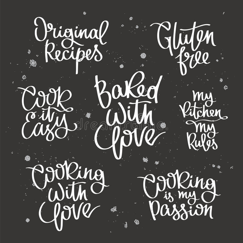 Download Set Quotes About Cooking Stock Vector Illustration Of Fancy