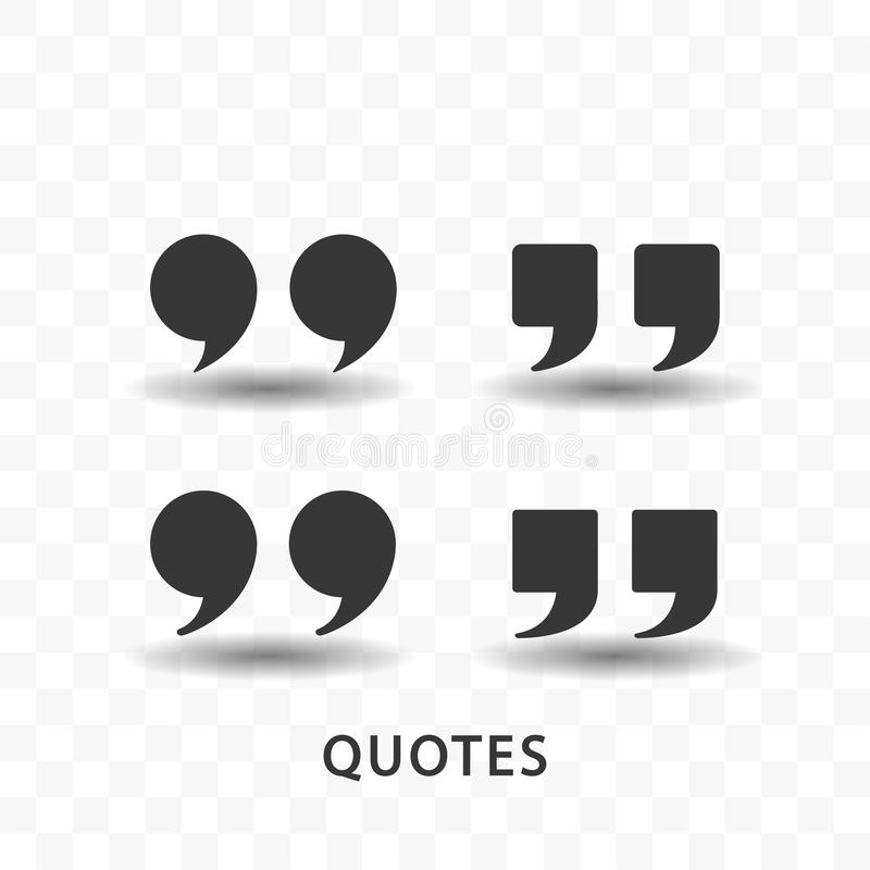 Set of quotes icon simple flat style vector illustration. Set of quotes icon simple silhouette flat style vector illustration on transparent background royalty free illustration