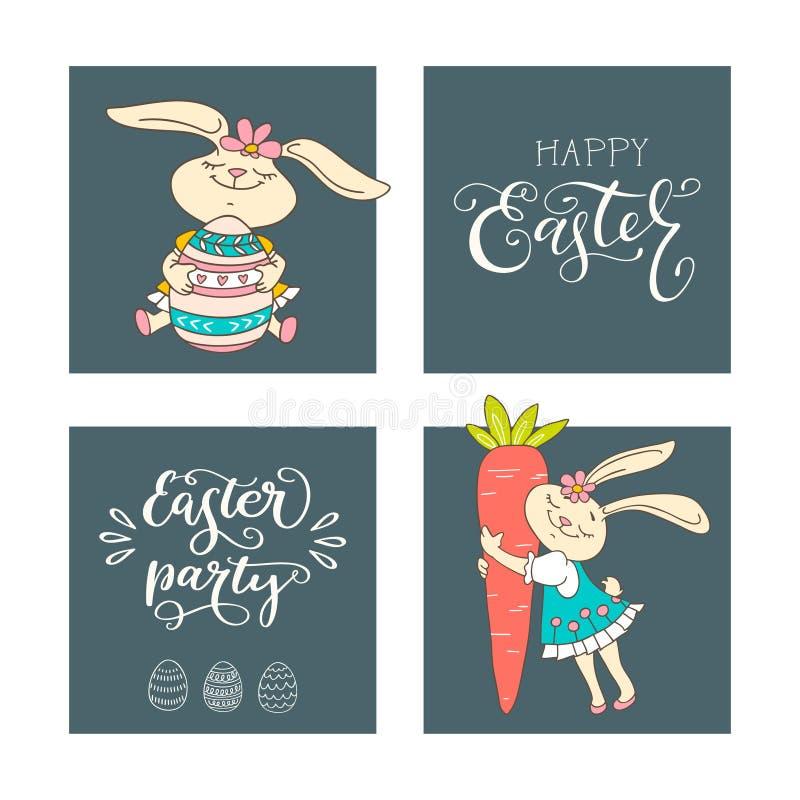 Set ręcznie pisany literowanie frazuje Szczęśliwą wielkanoc, wielkanocy przyjęcia i ręka rysujących królików, jajka, marchewka ilustracji