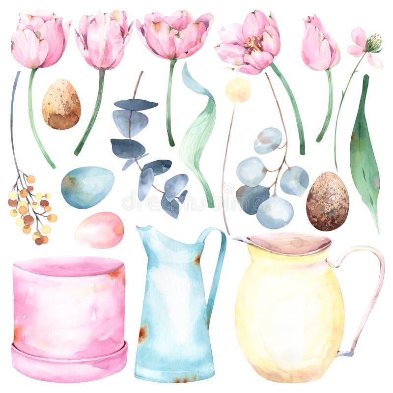 Set ręka malował Easter i wiosny akwareli o temacie ilustracje z kwiecistym i przedmiotami: tulipany, eukaliptus, liście, jajka,  ilustracja wektor