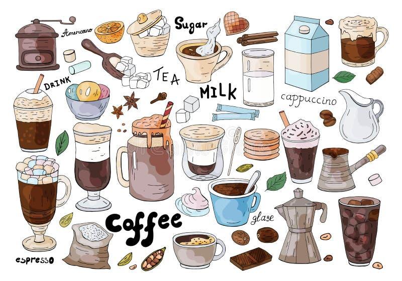 Set ręka rysujący różni typy kawa na białym tle Dla cukiernianego menu royalty ilustracja