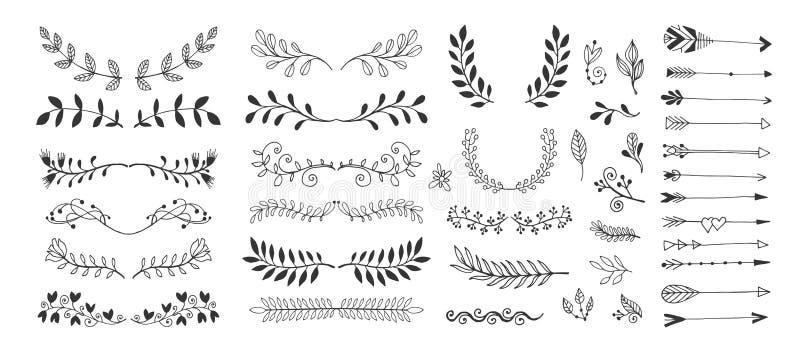 Set ręka rysunku strony dividers graniczy i strzała, doodle kwiecistego projekta elementy ilustracji