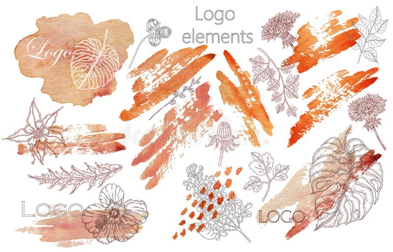 Set ręki rysować akwareli odznaki dla i etykietki piękna, zdrowego życia i wellness, Wektorowe ilustracje dla grafiki royalty ilustracja