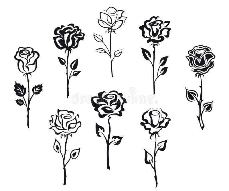 Set różani kwiaty ilustracja wektor