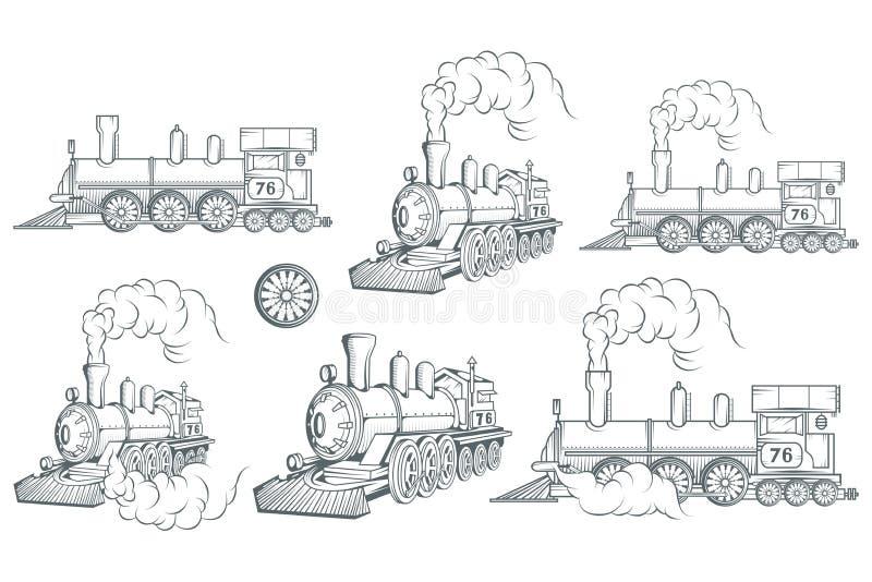 Set różna lokomotywa Stary taborowy logo Lokomotoryczny rysunek Parowy transport ilustracja wektor