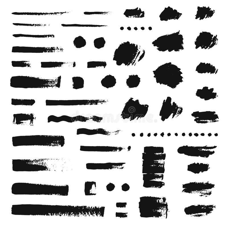 Set różna ręka rysujący muśnięć uderzenia Grunge tekstura royalty ilustracja
