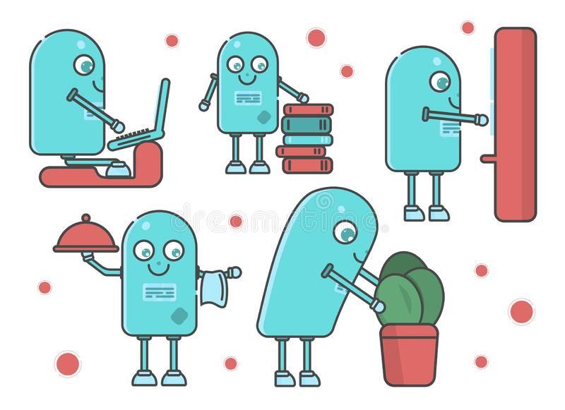 Set różna scena z mądrze robotem RPA ilustracja wektor