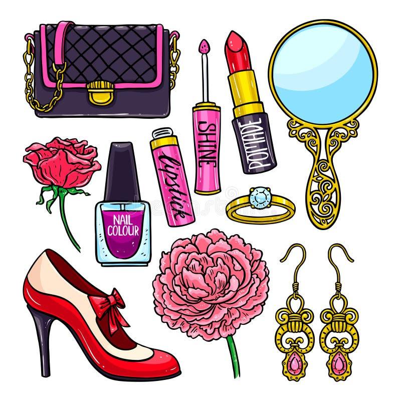 Set różne żeńskie rzeczy ilustracja wektor