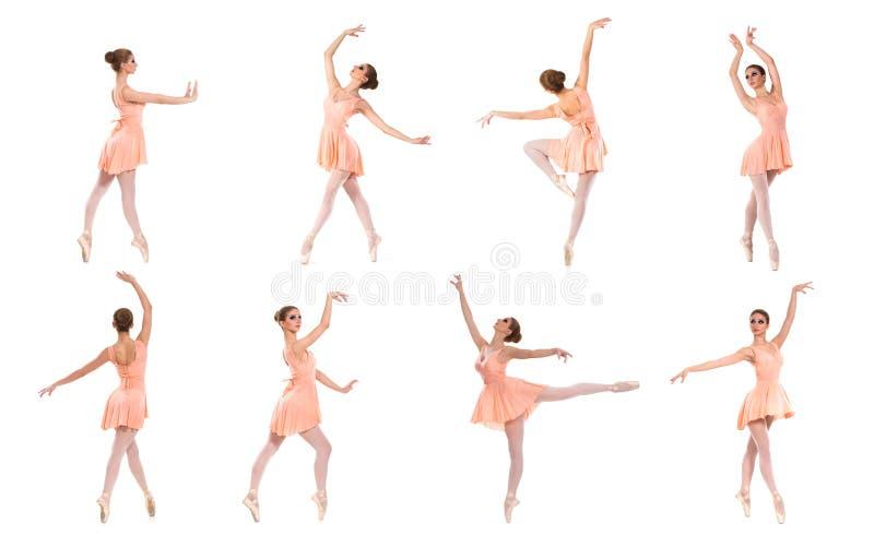 Set różne baletnicze pozy. Czarny i biały ślada fotografia royalty free