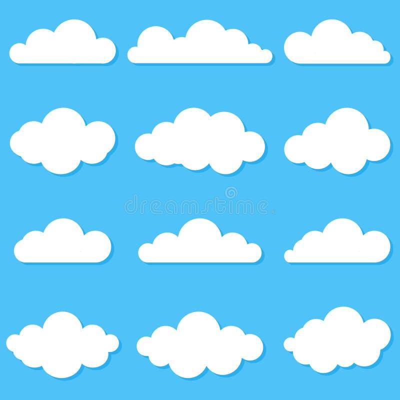 Set r??ne chmury Ob?oczna ikona, symbol lub logo, Set r??ne chmury abstrakcjonistycznych t?a b??kitny guzika kolor?w glansowani i ilustracji
