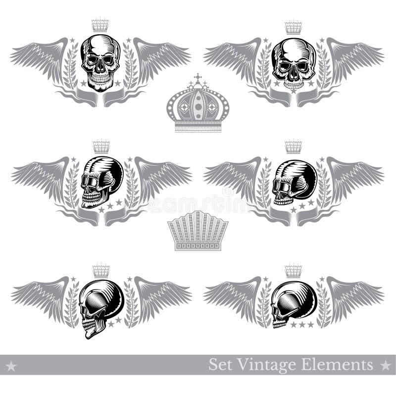 Set różne czaszki z skrzydłami, wianek i rocznika element Wektorowy heraldyczny projekt ilustracja wektor