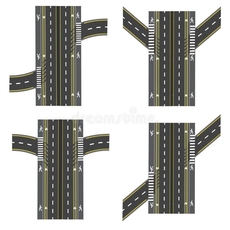 Set różne drogowe sekcje, wymiany transpot, rower ścieżki, chodniczki i skrzyżowania, ilustracja wektor