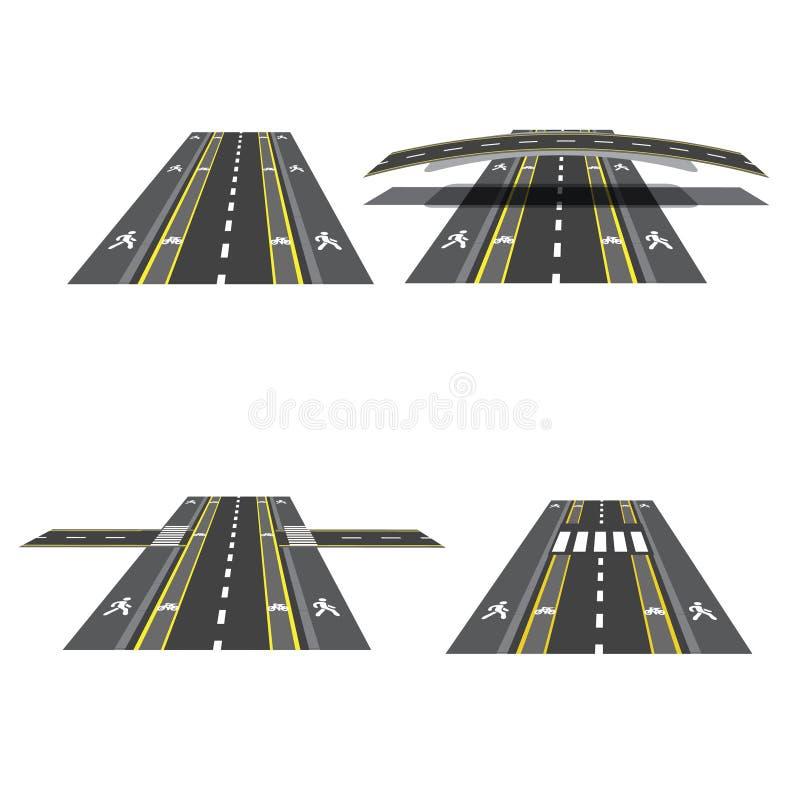 Set różne drogowe sekcje z peshihodnymi skrzyżowaniami, rowerowymi ścieżkami, chodniczkami i skrzyżowaniami, ilustracja ilustracja wektor