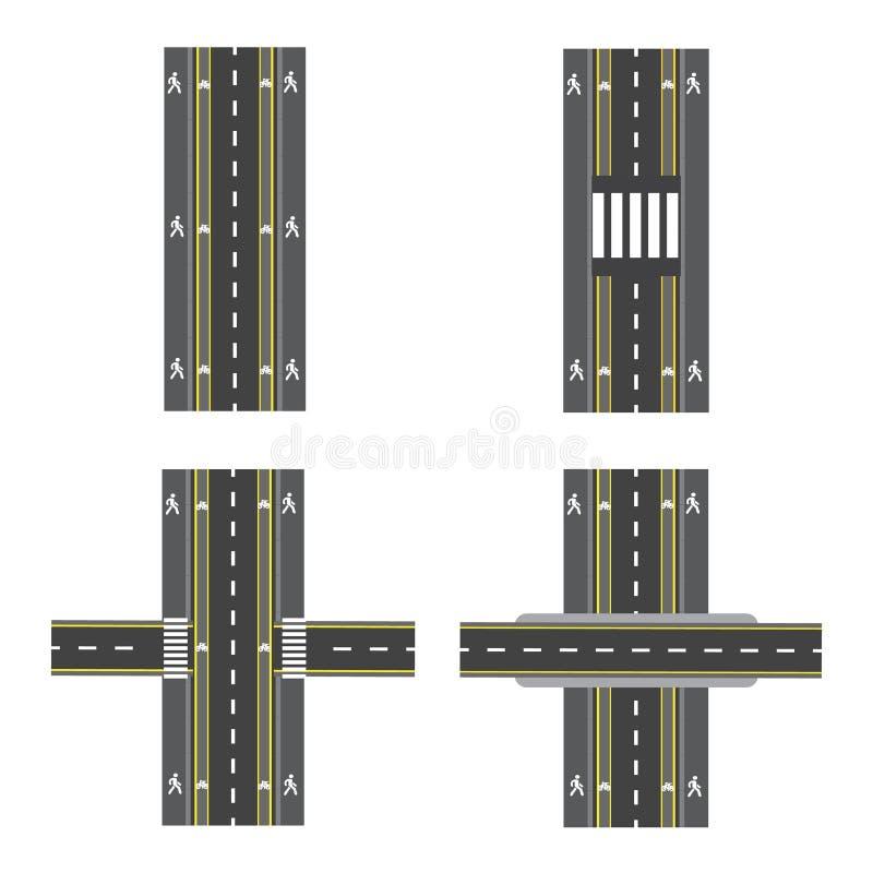 Set różne drogowe sekcje z przemianami, rower ścieżkami, chodniczkami i skrzyżowaniami, ilustracja ilustracji