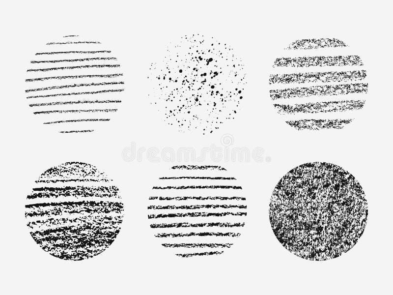Set różne grunge tekstury w okręgu ilustracji