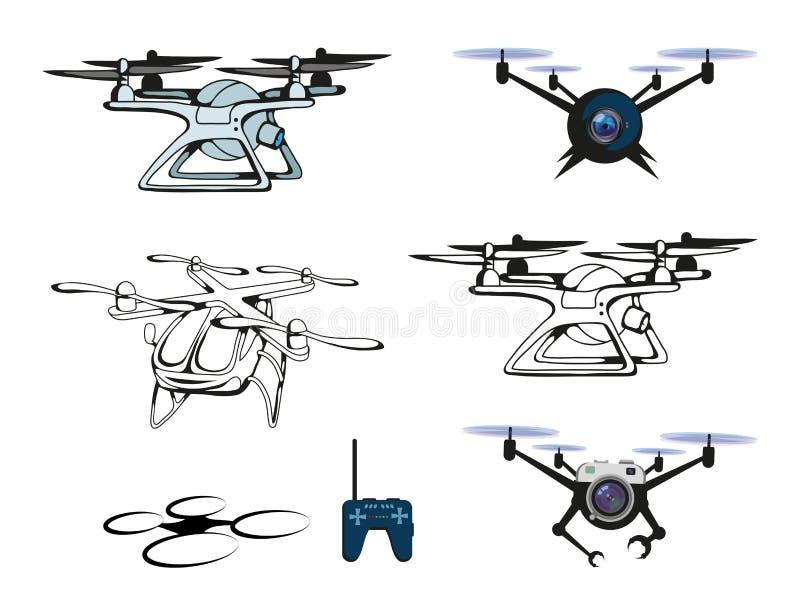 Set różne ilustracje trutnia quadrocopter Truteń z kamerą Robotyka ilustracyjne ilustracji