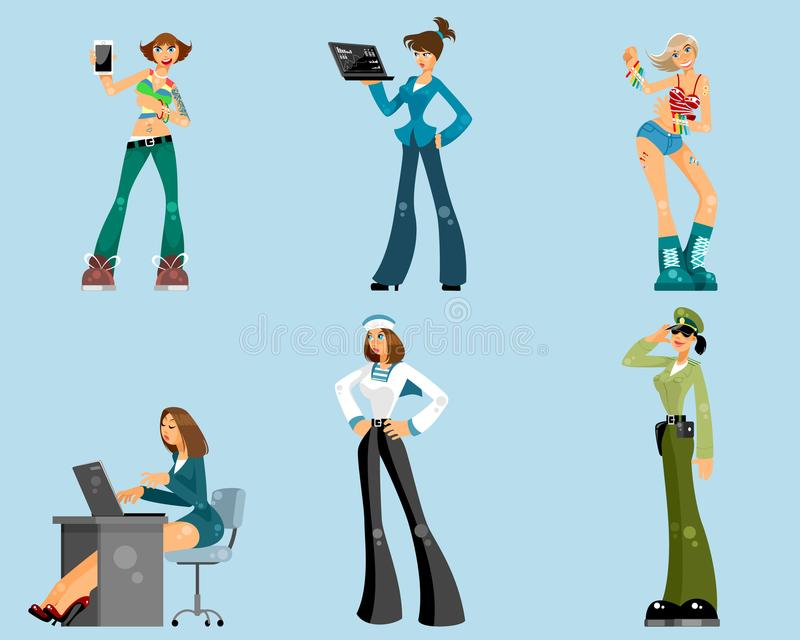 Set różne kobiety royalty ilustracja