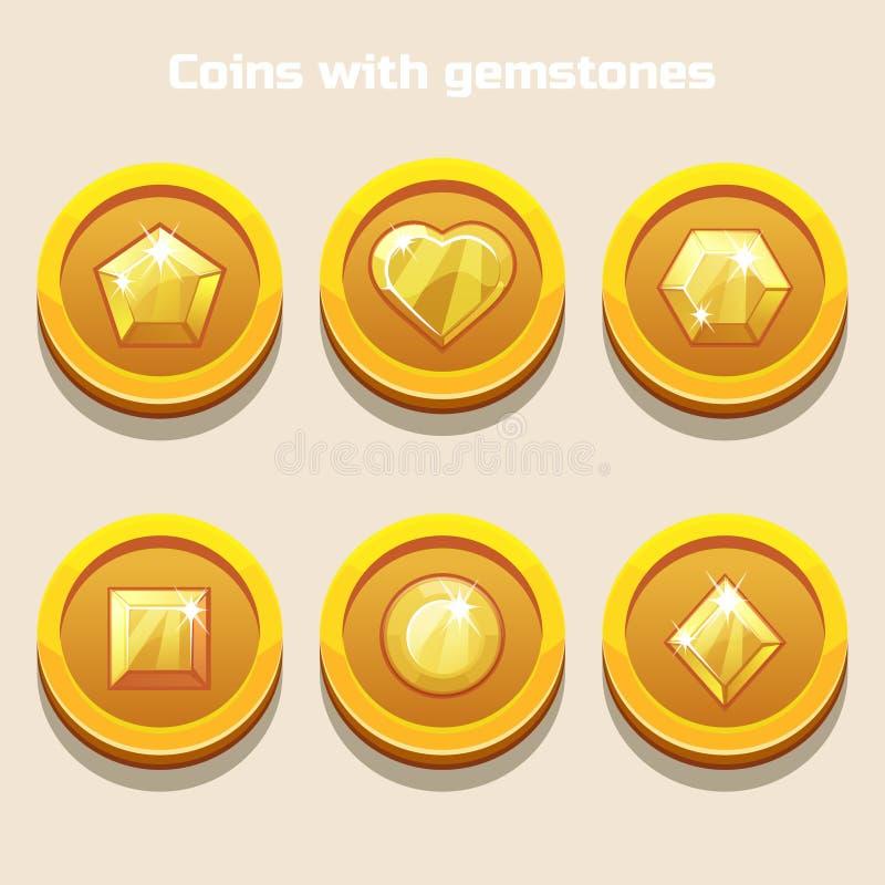 Set różne kreskówek monety z gemstones inside, dla sieci gry lub zastosowanie interfejsu ilustracji