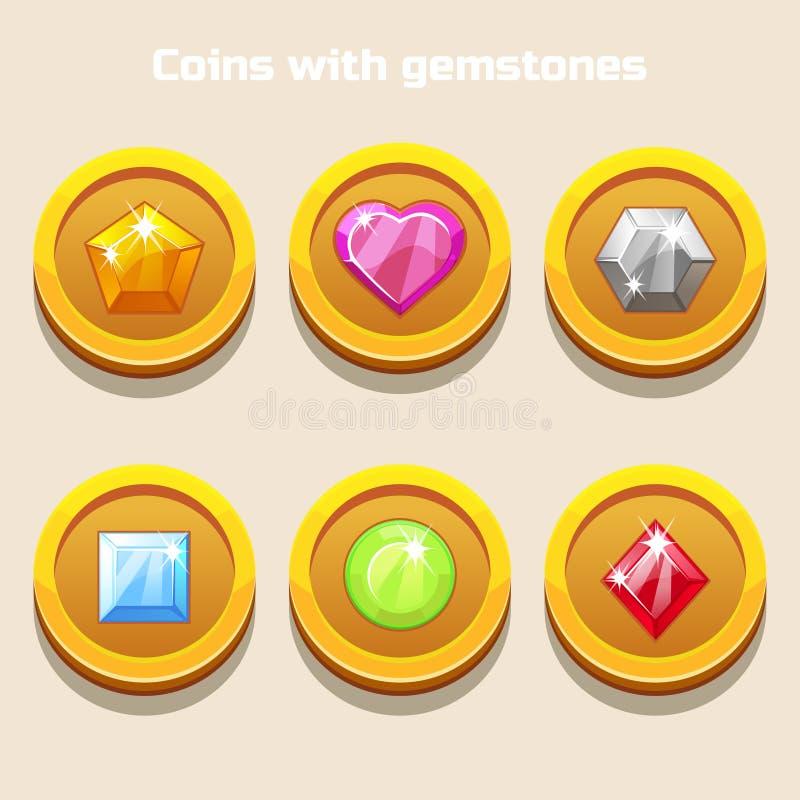 Set różne kreskówek monety z kolorowymi gemstones inside, dla sieci gry ilustracja wektor