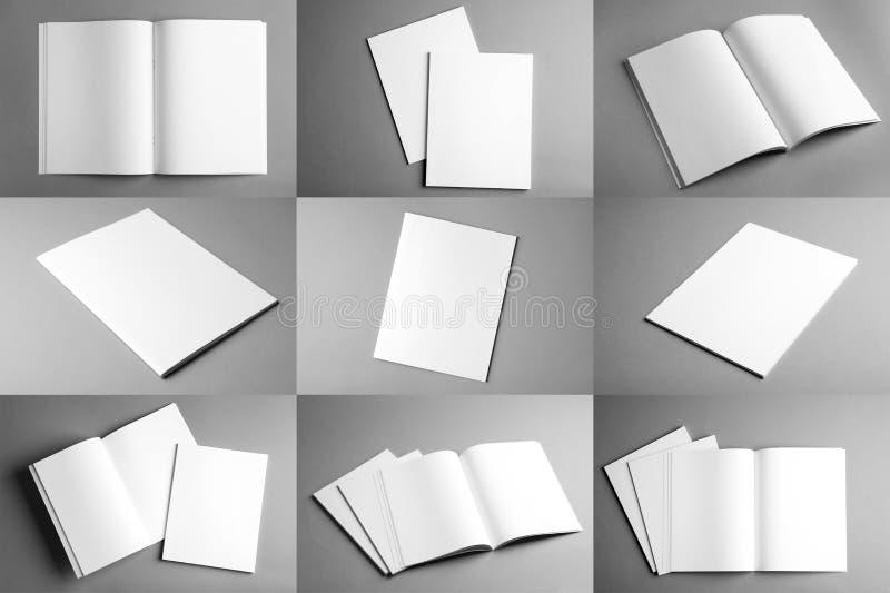 Set różne puste broszurki na popielatym tle ilustracja wektor