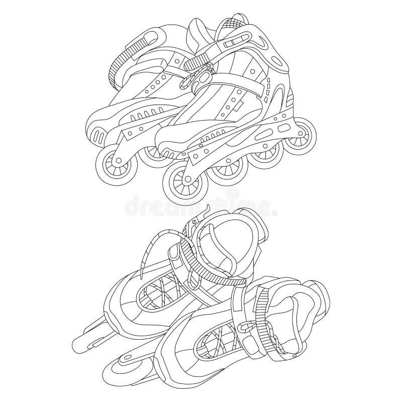 Set różne rolkowe łyżwy ilustracja wektor
