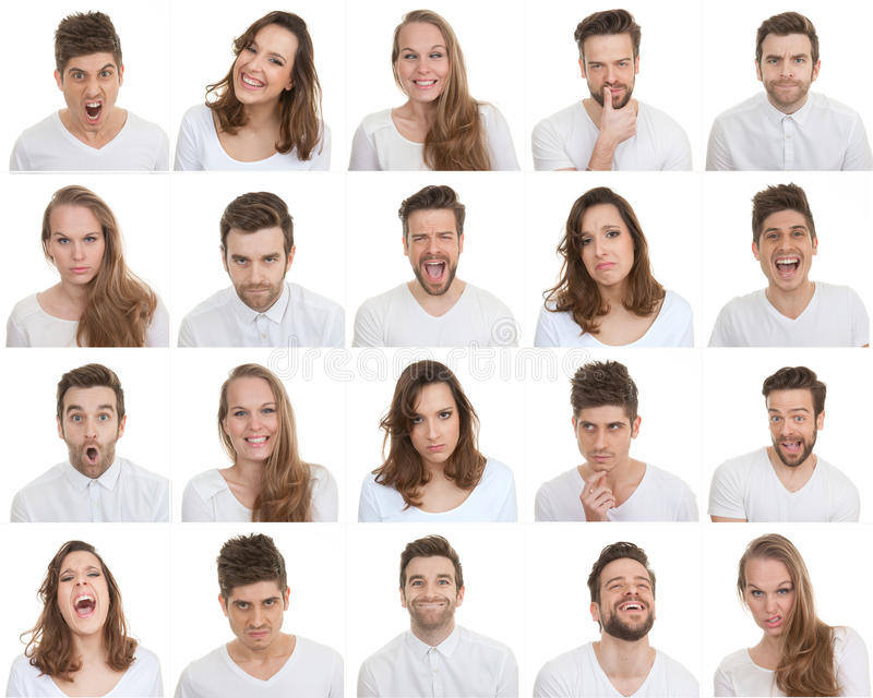 Set różne samiec i kobiety twarze fotografia stock