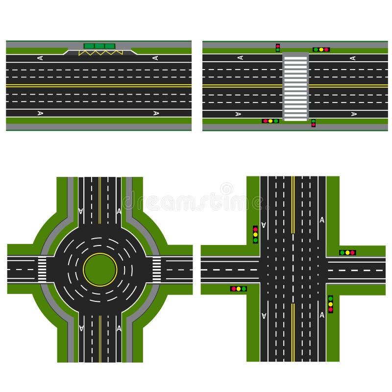 Set różne sekcje autostrada z kółkowym dvizheniemi, Wizerunków chodniczki, przemiana pasy ruchu dla royalty ilustracja
