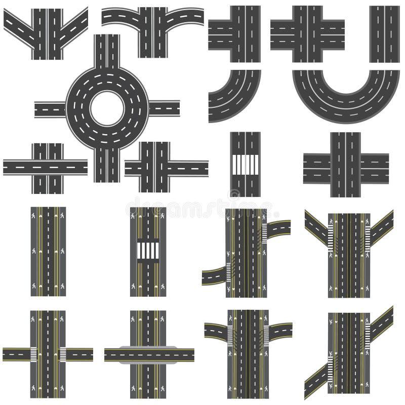 Set różne sekcje droga z rondami, złączami, chyłami i różnorodnymi skrzyżowaniami, serie przedstawiają ilustracja wektor