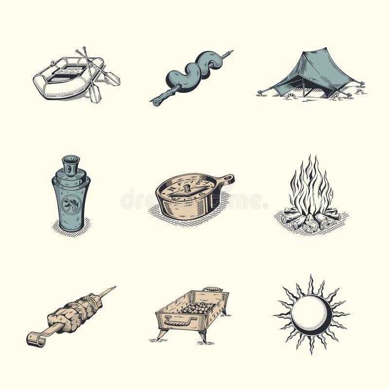 Set różne wycieczkuje ikony ilustracji