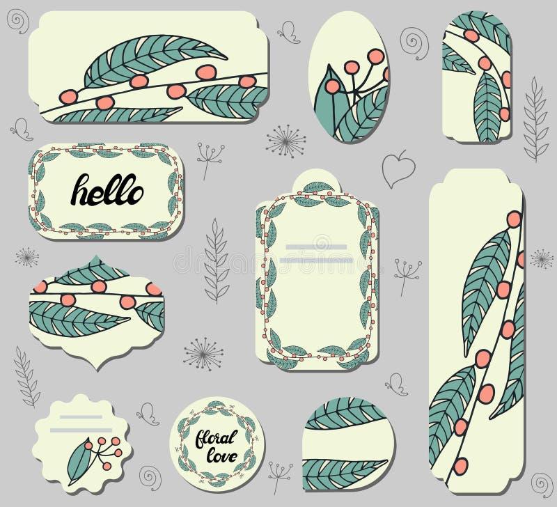 Set różnego etykietki withof doodle czerwone jagody i zieleń liście ilustracja wektor