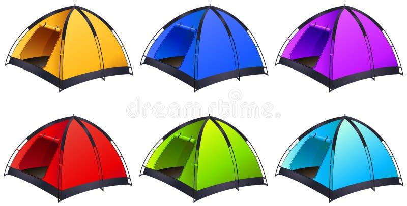 Set różni coloured namioty ilustracja wektor