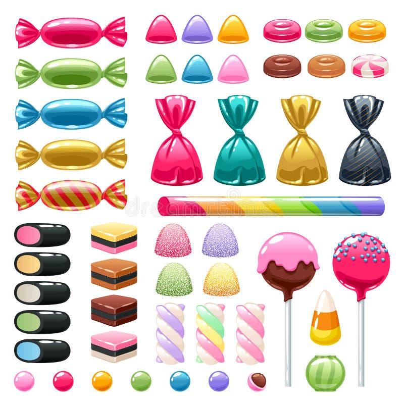 Set różni cukierki sweets asortowani royalty ilustracja