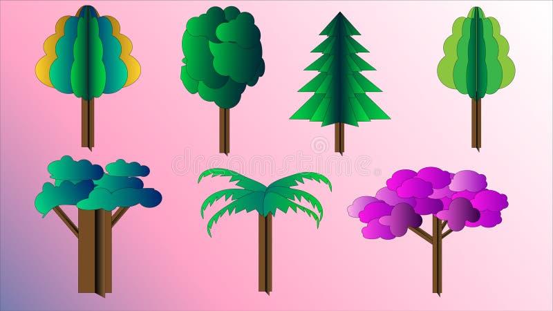 Set różni drzewa deseniuje kartonowy trójwymiarowy kolorowego dla dekoraci royalty ilustracja